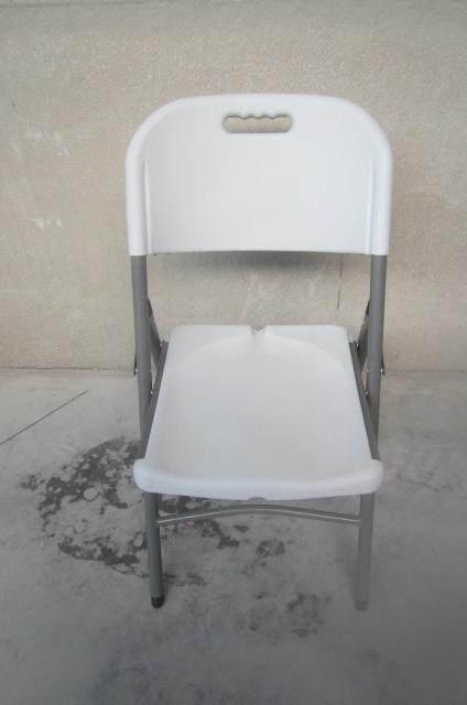 Stevige klapstoel: wit PVC, plooibaar